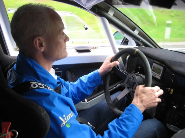 Andris Dambis at the wheel of electric OSCar eO on its way from Tallinn to Rīga during Electric Marathon 2012