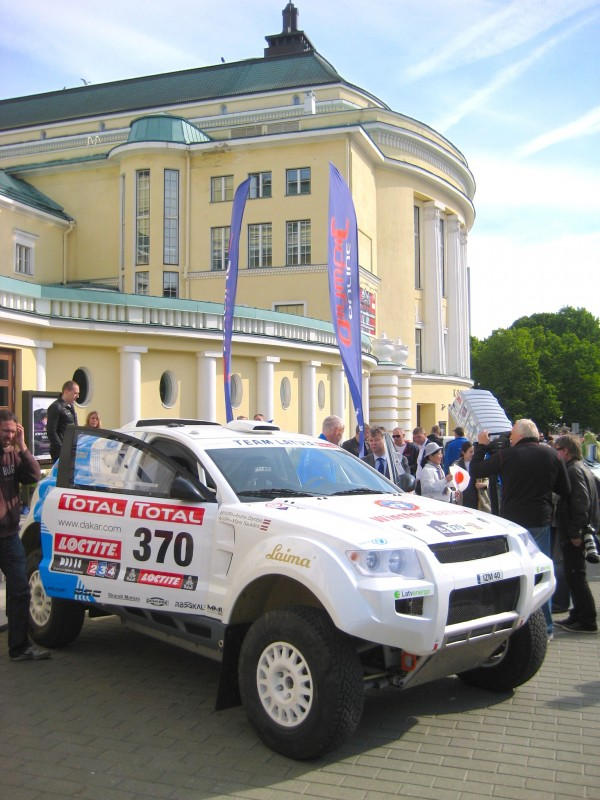 Electric OSCar eO rally car near the Opera House in Tallinn