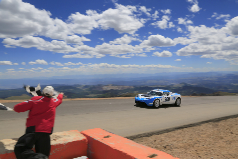 Tesla Roadster PP02 by Drive eO crossing the finish line of Pikes Peak Hill Climb